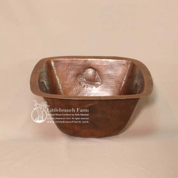 pine cone design square copper sink