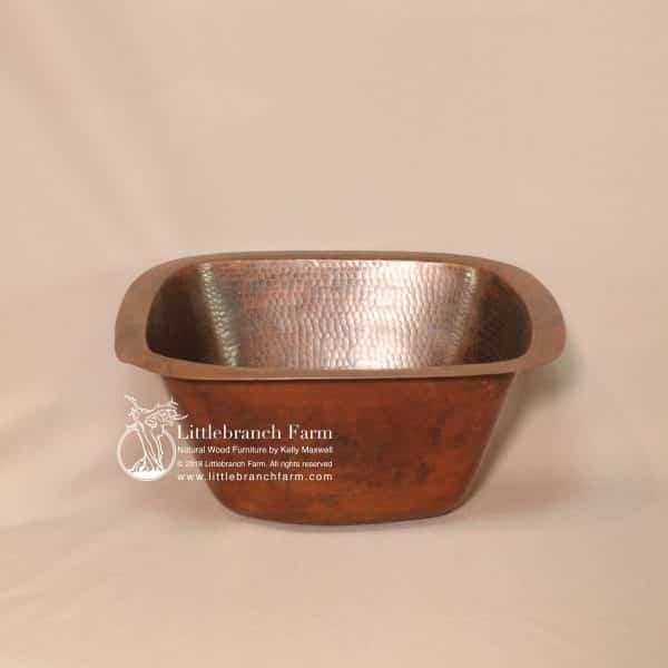 Square copper sink with patina
