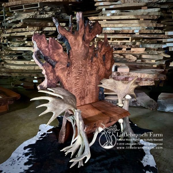 Live edge wood throne