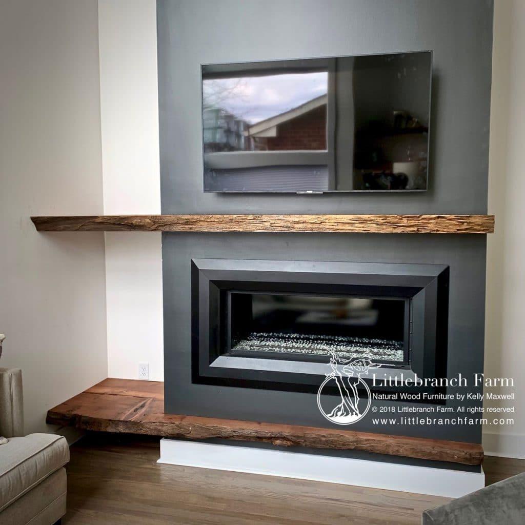 Rustic mantel in modern decor