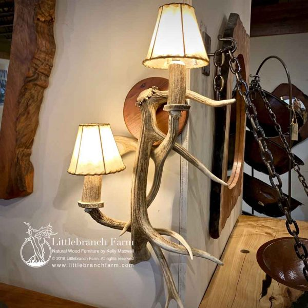 Elk antler wall light