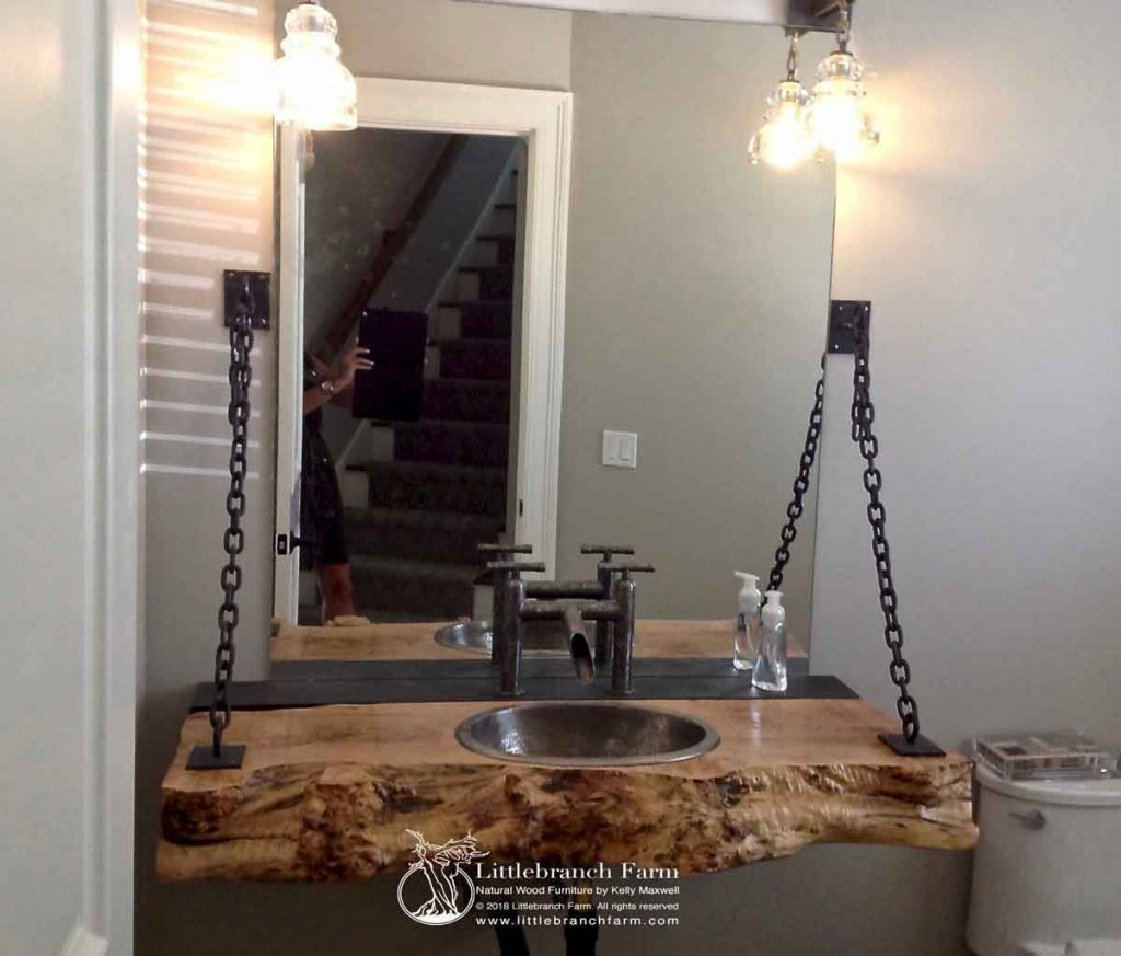 Maple burl wood bathroom sink